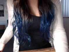 fuckyeah-dyedhair: blue dip dye! Blue dip dye on dark hair