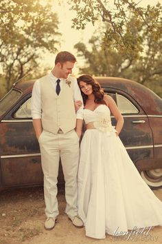 Love everything about this wedding- the dress, the groom's clothing, the hair down, the space...