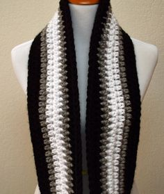 Black, Gray and White Striped Infinity Scarf, Crochet Infinity Scarf, Oakland Raiders Scarf