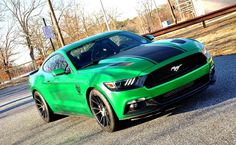 2015 #Ford #Mustang_GT #Vortech_Supercharged #JT_Trim #Niche_Vicenza #Hexis_Metallic_Green #Modified #Stance
