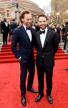 Charlie Cox and Tom Hiddleston.Olivier Awards. April 7, 2019.Click on the image for more. Thomas William Hiddleston, Tom Hiddleston Loki, Husband Appreciation, The Tesseract, James Norton, Broadchurch, Cox And Cox, Royal Albert Hall, Iconic Photos