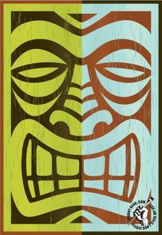 tiki head logo line Hawaiian Art, Tiki Tattoo, Tiki Head, Painting, Art, Tiki Faces, Design Toscano