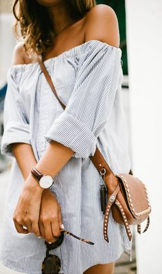 spring fashion Striped Off The Shoulder Shirt Dress & Brown Leather Studded Shoulder Bag