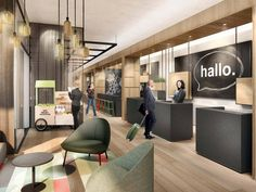 Hotel concept Budget Hotel Schwabennest ➤ blocher partners developed a concept for the interior design of the hotel Hotel Reception, Reception Design, Cafe Design, Interior Design, Theme Hotel, Hotel Lobby Design, Hotel Concept, Budget, Olive Hotel