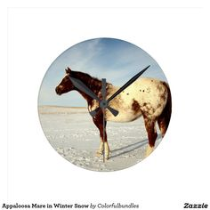 Appaloosa Mare in Winter Snow Wallclock
