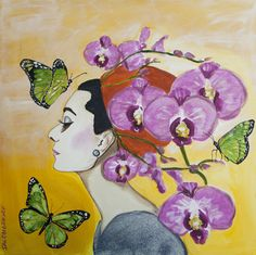 """""""Orchid Audrey with Butterflies"""" 30 x 30"""