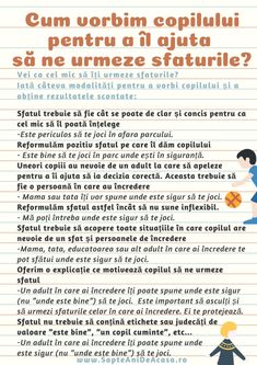 Cum vorbim copilului pentru a îl ajuta să ne urmeze sfaturile? (Infografic) / Resurse parenting / 7 ani de acasă Infant Activities, Kindergarten Activities, Activities For Kids, Kids And Parenting, Parenting Hacks, Positive Discipline, Teaching Materials, School Counseling, Raising Kids