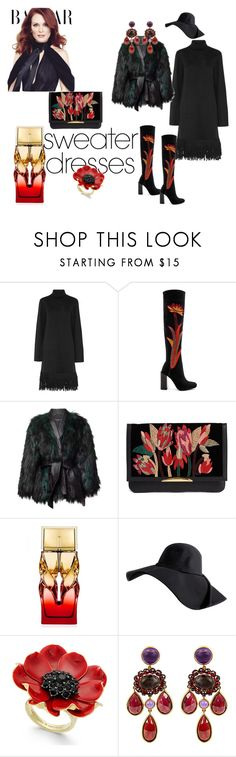 """Black and flowers"" by micettes ❤ liked on Polyvore featuring Iris & Ink, Jeffrey Campbell, Balmain, Lizzie Fortunato, Christian Louboutin, Kate Spade, Brigid Blanco and JULIANNE"