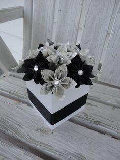Items similar to Sheet Music Centerpieces Origami Kusudama Paper Flower Centerpieces Black White - 10 on Etsy Music Centerpieces, Paper Flower Centerpieces, Paper Flower Wreaths, Wedding Centerpieces, Paper Flowers, Wedding Decorations, Black Centerpieces, Centrepieces, Origami Paper Art