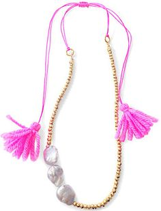 Tropicana Pink Tassel Necklace, How would you style this? http://keep.com/tropicana-pink-tassel-necklace-by-lindsay_leggett_stone/k/0L4ufjABJt/