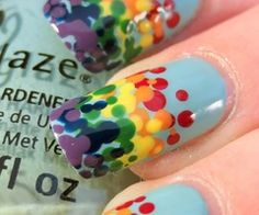Nails / Rainbow dot gradient@We Heart It