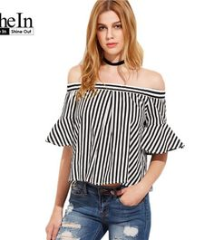 e6578ae1ee2a5 SheIn Womens Tops and Blouses Summer 17 Ladies Tops Black And White Striped Flare  Sleeve Off