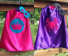 Superhero Cape Princess Spidergirl Girl's Super Hero Cape with Reversible Mask, Children's Apparel or Costume