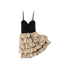 H&M Volant Dress ❤ liked on Polyvore featuring dresses, vestidos, vestiti, sukienki and h&m dresses