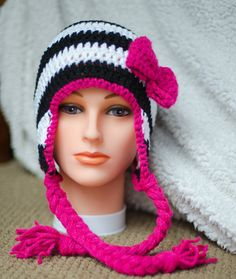 Striped earflap hat with bow  made to order by FloraAndFinn, $22.00