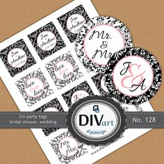 "PRINTABLE 2"" Wedding Favor Tags, Gift Tags, Thank You Tags, Party Tags, Party Picks, Cupcake toppers - damask - black and white by DIVart"