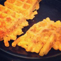 Macaroni and cheese waffle.