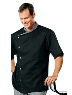 cool Chef coat black with red uniforms short sleeve chef jacket ...