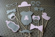 photobooth accessories christening, baby shower pink and gray color 12 pieces: L . - - pink and gray baby shower p Best Baby Shower Favors, Deco Baby Shower, Bebe Shower, Baby Shower Souvenirs, Shower Rose, Grey Baby Shower, Shower Party, Baby Shower Parties, Baby Favors