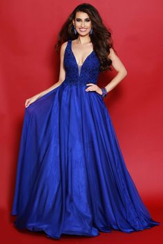 918870723b Two-Piece Long A-Line Prom Dress with Mock Neckline in 2018 ...