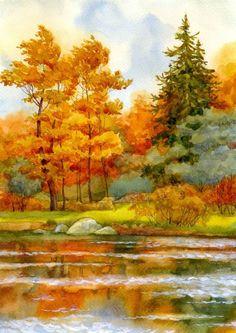 осенний пейзаж акварель