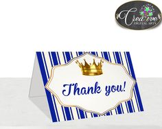 Royal Baby shower THANK YOU card little prince, royal blue and gold crown theme printable, digital files jpg pdf, instant download - rp001 #babyshowerparty #babyshowerinvites