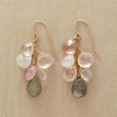 SUN GLITTER EARRINGS -- A delicate dangle of glittering stones?sun stone, tourmaline, rose quartz and labradorite?sways to compliment your way. By Thoi Vo. Wire Jewelry, Jewelry Crafts, Beaded Jewelry, Unique Jewelry, Jewelry Accessories, Jewelry Design, Jewellery, Silver Jewelry, Diy Earrings