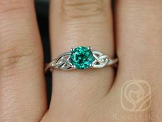 Solid White Gold Round Round Emerald Celtic Love Knot Triquetra Engagement Ring,Rosados Box Cassidy White Gold Round Emerald Celtic by RosadosBoxCassidy White Gold Round Emerald Celtic by RosadosBox Vintage Engagement Rings, Diamond Engagement Rings, Diamond Rings, Engagement Images, Engagement Jewelry, Solitaire Engagement, Celtic Love Knot, Celtic Wedding Rings, Wedding Bands