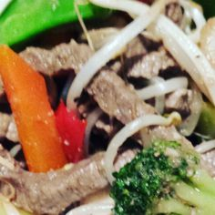 Beef and vegetable stir-fry. Delicious. High protein. Low fat. ☺