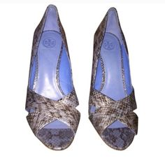 HP Tory Burch High Heels Shoes Size 9 Brand New with Tags. Gorgeous blue snake skin heels with peep toe. Sold as is, no box or dust bag available.  PRICE FIRM NO TRADES Tory Burch Shoes