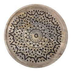 Make a statement with a black patterned mango wood tray. Dia 39 x H cm Mango wood Not dishwasher safe Not ovenproof Not microwave safe Food Oriental, Mango, Fruit In Season, Wood Tray, Black Pattern, Boho, Mandala, Decorative Plates, Art Deco