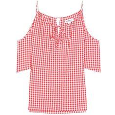 Velvet Nedra Gingham Cold-Shoulder Top (1.980 ARS) ❤ liked on Polyvore featuring tops, red, cold shoulder tops, red top, red cold shoulder top, velvet top and cut shoulder tops