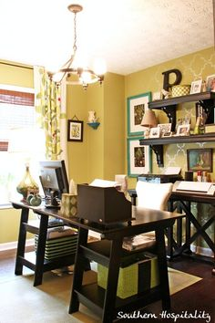 Love the way this home office pulls together my favorite colors (green and teal) with so much texture and interest. Perhaps I'll grab a few ideas for the home office in my new place. Home Office Space, Home Office Design, Home Office Decor, Home Decor, Office Ideas, Office Spaces, Desk Office, Office Style, Green Office