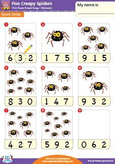 """""""Five Creepy Spiders"""" - Count & Circle Halloween Worksheet from Super Simple Learning. #preK #kindergarten #ESL"""