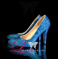3.5 Heels Pointed Toe Capri Blue Luxury Pumps by MDNY on Etsy, $199.00