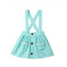 rechange Toddler Kid Baby Girl Ruffle Strap Suspender Skirt Button A-Line Overalls Dress Braces Skirt