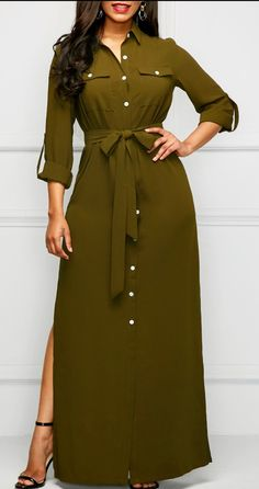 Side Slit Army Green Long Shirt Dress - Trend Way Dress Sexy Dresses, Dress Outfits, Casual Dresses, Fashion Outfits, Dress Fashion, Fashion 2018, Cheap Dresses, Modest Fashion, Party Dresses