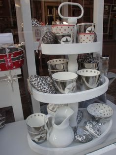 GreenGate Stoneware in White, Red and Silver