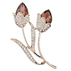 EXQUISITE Occident fashion gem embedded lotus unique lady brooch