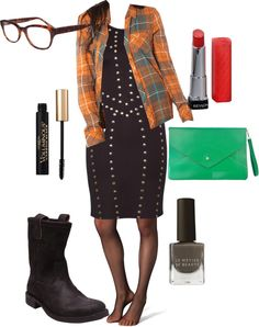 """Plaid Button Down/Studded Dress"" by mlc04536 on Polyvore"