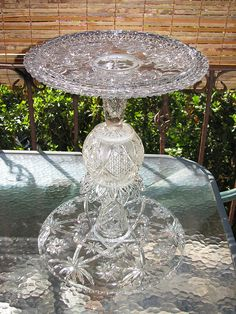 Now this one could be gorgeous..esp if large.  I used to have the jperfect rounded tray for this..darn.   repurposed glass birdbath