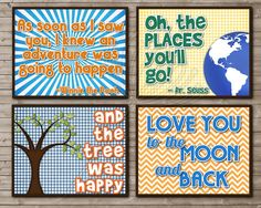 Book Quote Printable Nursery Art SET MOON and Back by DandeAve, $15.00