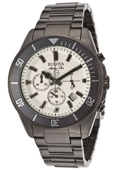 Bulova 98B205 Watches,Men's Marine Star Chronograph Gunmetal IP SS Beige Dial, Casual Bulova Quartz Watches