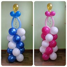 Cute balloon columns with pacifier for baby boy and girl. Girl Baby Shower Decorations, Balloon Decorations Party, Baby Shower Centerpieces, Baby Decor, Baby Shower Themes, Baby Boy Shower, Baby Shower Gifts, Balloon Arch Diy, Balloon Tower