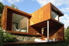 Architecture, Small Modern Wooden House Design Ideas With Brown Exterior Color And Wood Wall Cladding Plus Glass Window And Stone Foundation: The Beautifully Unique and Elegant Casa Kolonihagen in Stavanger Norway Modern Wooden House, Wooden House Design, Small Wooden House, Wooden Houses, Design Villa Moderne, Modern Villa Design, Cades, Conception Villa, Architecture Résidentielle