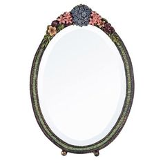 Oval Barbola Table Mirror, Floral Frame