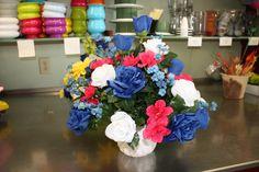 Red, white and blue arrangement #DundalkFlorist www.dundalkflorist.com