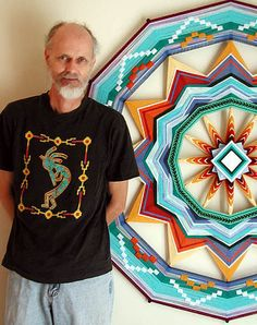 Ojos de Dios Mandala Artworks by Jay Mohler ‹ Fashion Trendsetter Fun Crafts, Diy And Crafts, Arts And Crafts, God's Eye Craft, Mandala Artwork, Gods Eye, Magic Circle, Weaving Art, Oeuvre D'art