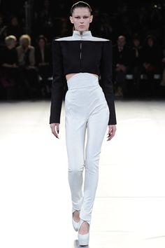 Mugler high and narrow waist trousers and square mandarin collar wide shoulder shirt in black and white