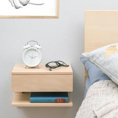 Floating end table nightstand solid walnut bedroom bedside Floating Bedside Shelf, Floating Shelves, Floating Table, Under Bed Drawers, Decoration, Bedroom Decor, Bedroom Ideas, Master Bedroom, Furniture